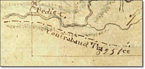 Close-up of Contraband Trace Indicated on Map of Benjamin Rigby League