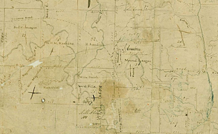 1831 E. R. Wightman Map Showing Coushatta Trace and Grimes Road