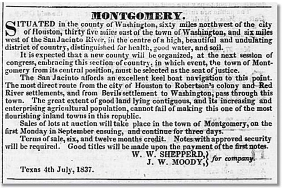 Montgomery Advertisement in Telegraph and Texas Register