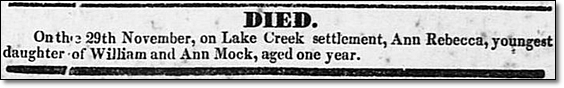 Obituary of Rebecca Ann Mock - Lake Creek Settlement